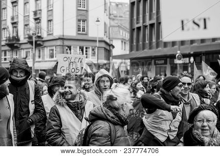 Strasbourg, France  - Mar 22, 2018: Sncf French Rail Workers At Demonstration Protest Against Macron