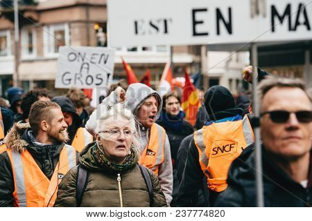 Strasbourg, France  - Mar 22, 2018: People With Placards At Demonstration Protest Against Macron Fre