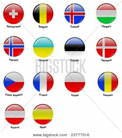 Icons with flages of european countries (part 2) poster