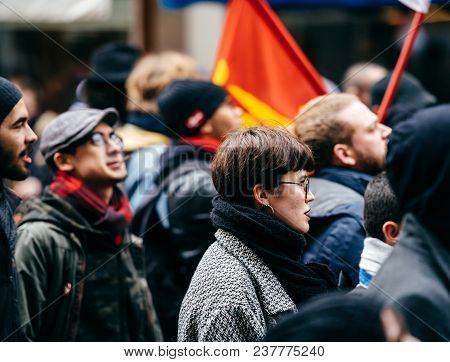 Strasbourg, France  - Mar 22, 2018: French Woman At Demonstration Protest Against Macron French Gove