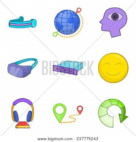 Web Gadget Icons Set. Cartoon Set Of 9 Web Gadget Vector Icons For Web Isolated On White Background