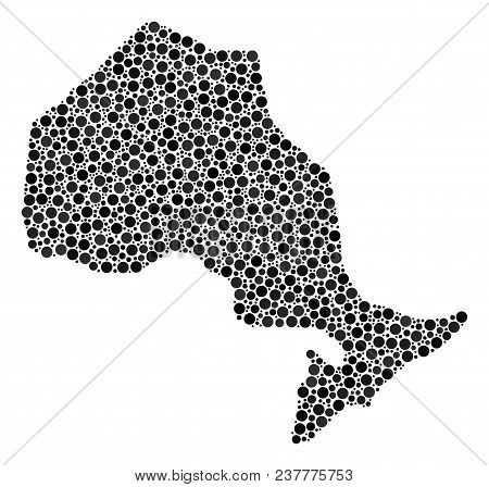 Ontario Province Map Collage Of Spheric Dots In Variable Sizes. Random Round Elements Are Grouped In