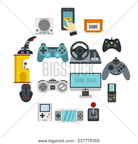 Video Game Icons Set In Flat Style. Game Controllers Set Collection Vector Illustration