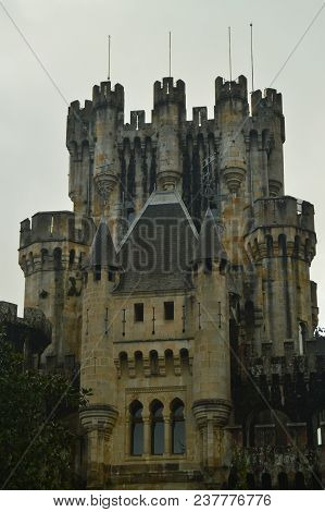 Gun Turret Of The Front Facade Of The Butron Castle, Castle Built In The Middle Ages. Architecture H