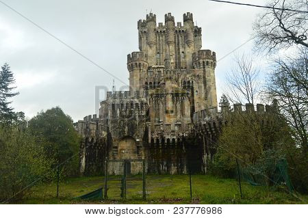 Rear Facade Of Butron Castle, Castle Built In The Middle Ages. Architecture History Travel. March 24