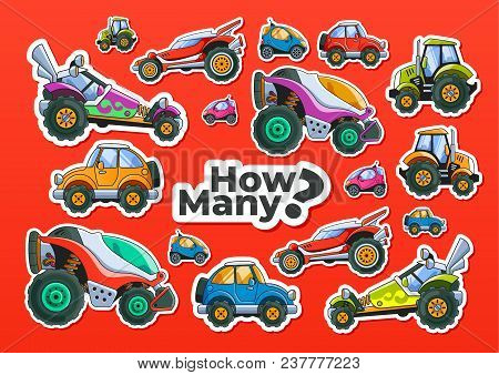 Cars Counting Children Educational Game. Vector Eps10