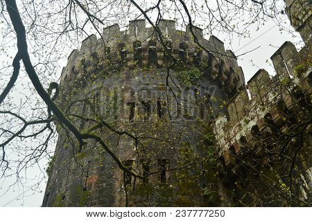 Battlements Of The Side Facade Of The Butron Castle, Castle Built In The Middle Ages. Architecture H