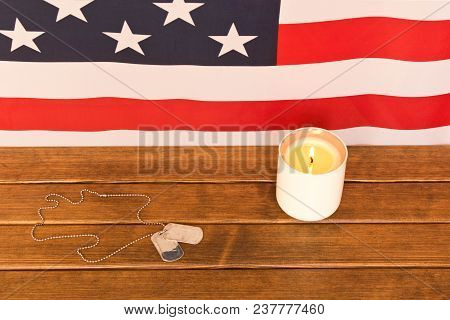American Flag And Army Tokens On Memorial Day  . On Wooden Background  .