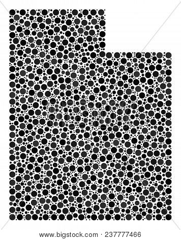 Utah State Map Composition Of Round Dots In Various Sizes. Scattered Dots Are Combined Into Utah Sta