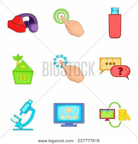 Cyberspace Icons Set. Cartoon Set Of 9 Cyberspace Vector Icons For Web Isolated On White Background