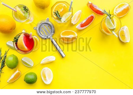 Bartender Workplace For Make Fruit Cocktail With Alcohol. Strainer Near Citrus Fruits And Glass With