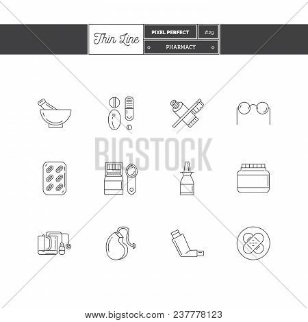 Line Icons Set Of Pharmacy Objects And Products. Pharmacy Pills, Optics, Herbal Peels, Dental Care,