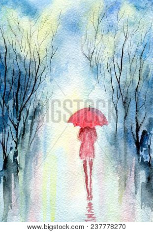 Rainy Spring Park, Girl Under An Umbrella, Cloudy Sky, Reflection Of Trees On Wet Paths. Hand-painte
