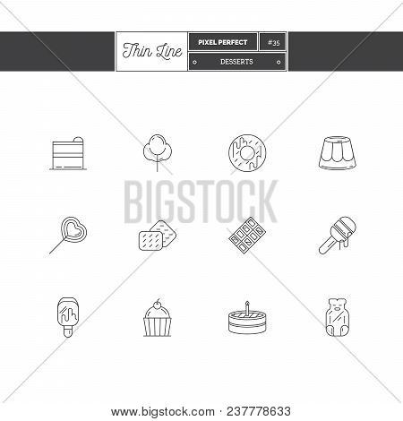 Line Icons Of Candy Products, From Cake And Sweets To Candy Shop, Donut, Ice Cream, Jelly Candy, Cot
