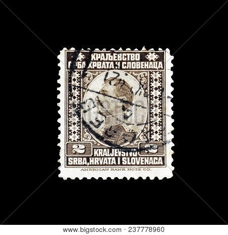 Yugoslavia - Circa 1921 : Cancelled Postage Stamp Printed By Yugoslavia, That Shows Portrait Of King