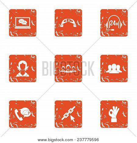Constant Communication Icons Set. Grunge Set Of 9 Constant Communication Vector Icons For Web Isolat