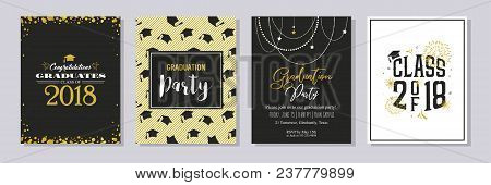 Graduation Class Of 2018 Greeting Card And Invitation Template. Vector Party Invitation. Grad Poster