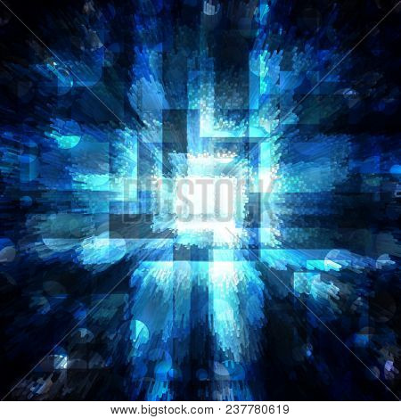 abstract blue squares with bright circles on a dark background