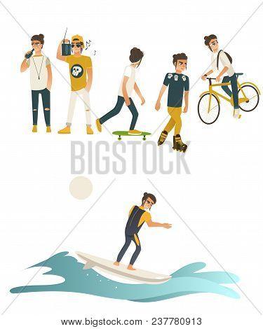 Summer Active Recreations Set With Guy Riding Bike, Rollerskating, Surfing, Skateboarding, Listening