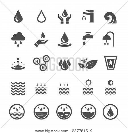 Water Icons. Nature And Energy Saving Concept. Glyph And Outlines Stroke Icons Theme. Sign And Symbo