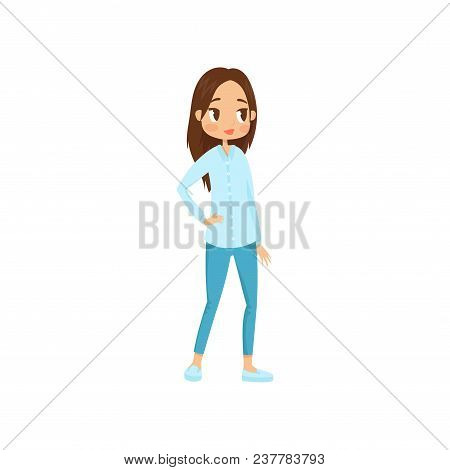 Full-length Portrait Of Young Brunette Girl With Big Shiny Eyes. Cartoon Character Of Female Teenage