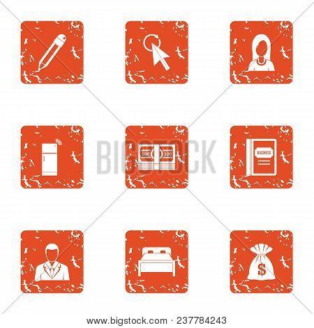 Monetary Intervention Icons Set. Grunge Set Of 9 Monetary Intervention Vector Icons For Web Isolated