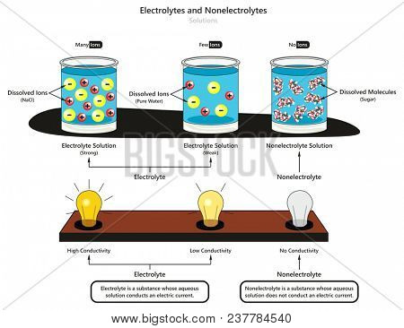Electrolyte and Nonelectrolyte Solutions infographic diagram showing type of electrolytes weak and strong also comparison of conductivity and dissolved substances for chemistry science education