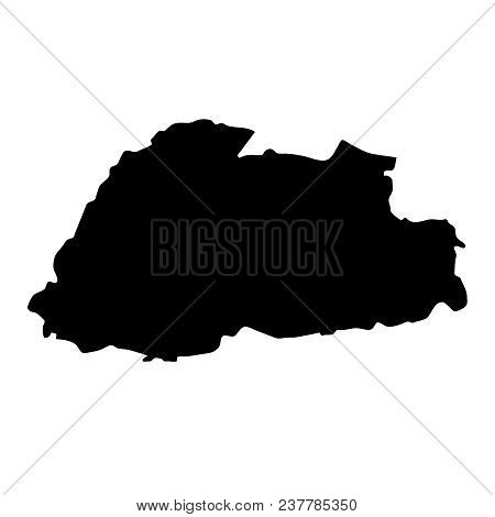 Black Silhouette Country Borders Map Of Bhutan On White Background Of Vector Illustration