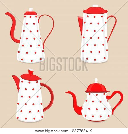 Abstract Vector Illustration Logo For Ceramic Teapot, Kettle On Background. Teapot Pattern Consistin