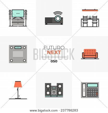 Semi-flat Icons Set Of Modern Home Furniture, Household Appliances. Unique Color Flat Graphics Eleme