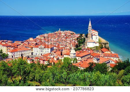 Piran Town In Slovenia. Top View From The City Walls.