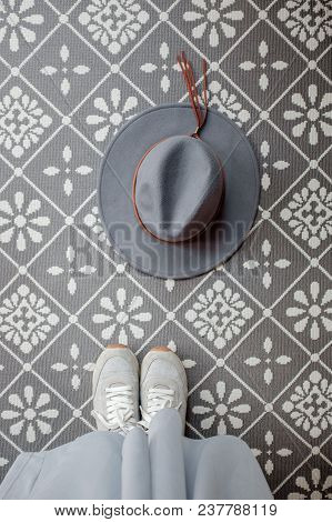 Gray Hat On A Patterned Background. Photography For Travel  Instagram