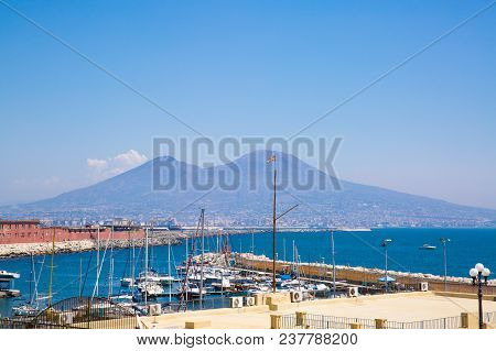 Naples Port, Vesuvius View, Naples Bay. Summertime