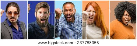 Group of cool people, woman and man irritated and angry expressing negative emotion, annoyed with someone