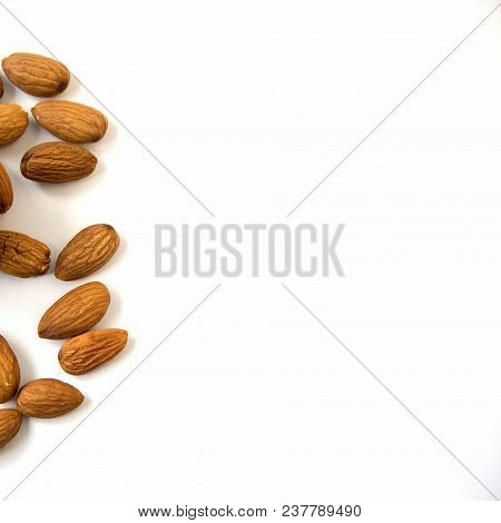Almonds Scattered Isolated On White Background Top View Square