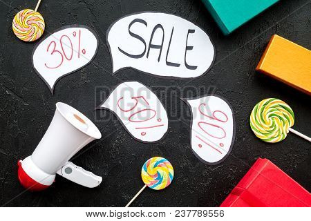 Sale Concept With Megaphone. Declare The Sale. Electronic Megaphone Near Word Sale In Cloud, Gift Bo