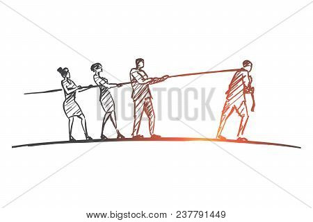 Vector hand drawn contradiction concept sketch with three people pulling rope to one side and man pulling it to another poster