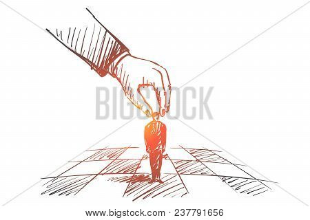 Vector Hand Drawn Strategy Concept Sketch With Human Hand Touching And Playing Small Businessman Fig