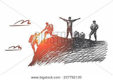 Vector Hand Drawn Teamwork Concept Sketch With Alpinist Helping With Hand Another Climber To Reach M