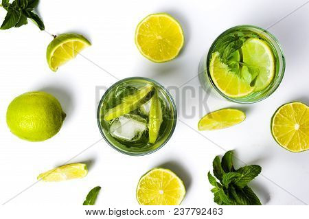 Refreshing Green Lime And Mint Juice Isolated