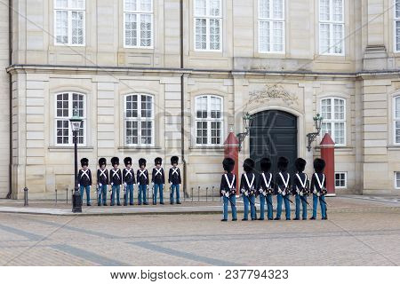 Copenhagen, Denmark - July 08, 2017: Group Of Danish Royal Guards At Amalienborg Palace For The Chan