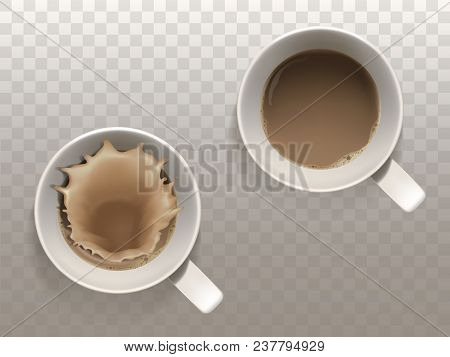 Vector Realistic Set With Two Cups Of Coffee, Liquid Splash, Top View Isolated On Translucent Backgr
