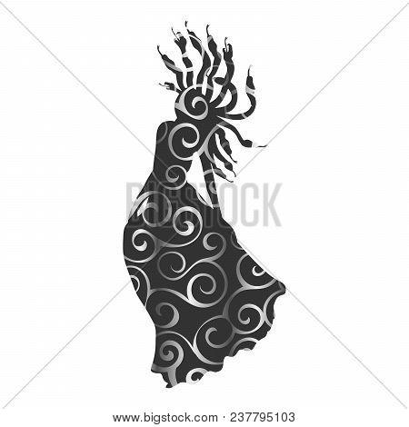 Medusa Gorgon pattern silhouette ancient mythology fantasy. Vector illustration. poster