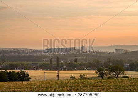 Summer Sunrise Over Block Of Flats Situated In Green Nature. Suburb Of City Of Brno, Czech Republic.