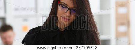 Beautiful Smiling Brunette Woman Hold In Arms Red Binder Folder Wearing Stylish Glasses Portrait. Wh