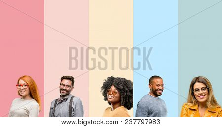 Cool group of people, woman and man confident and happy with a big natural smile laughing, natural expression
