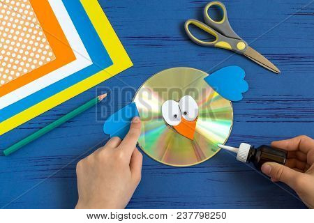 Child Makes Bird From Cd. Step 8