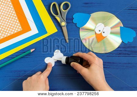 Child Makes Bird From Cd. Step 10