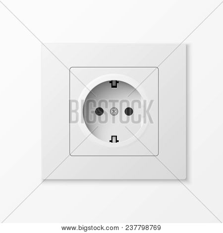 White Power Socket Isolated On White Background. Vector Illustration