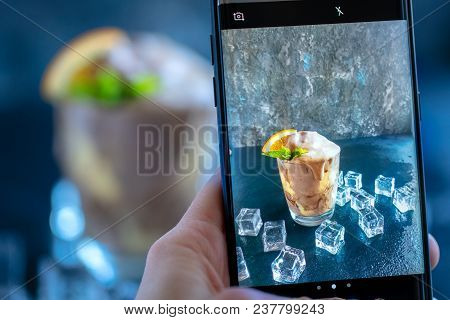 Oman Hand Make Shot Of Orange Soda Creamsicle Ice Cream Float In Glass Decorated With Piece Of Orang